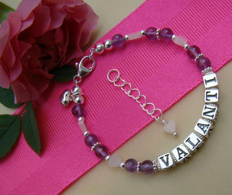 Amethyst Light Gemstone June Birthstone Rose Quartz Hearts Name Sterling Silver Bracelet