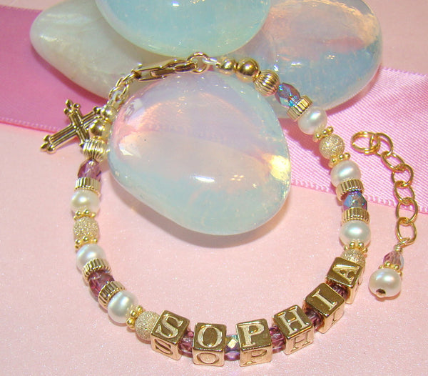 Gold Filled Baptism Religious Cross Charm Monogram Baby Bracelet