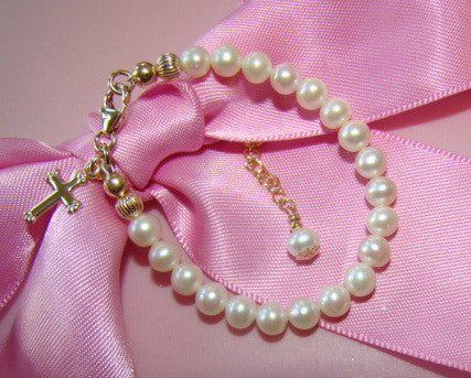 All 14K Gold Filled White Pearls Baptism Baby Christening Bracelet