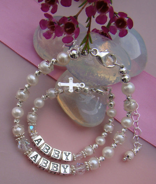 Mother Daughter All White Pearls Sterling Silver Baptism Custom Christening Name Bracelets
