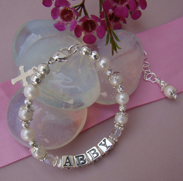Freshwater White Cultured Round Pearls Fancy Baptism Baby Child Name Bracelet