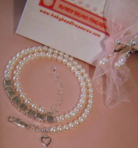 All White Freshwater Cultured Pearls Birthstone Adult Name Necklace and Earrings