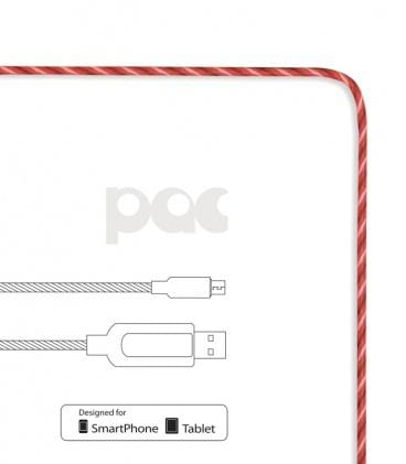 Cable lumineux pour SmartPhone Micro-USB - The PAC LED Rouge - Shoji