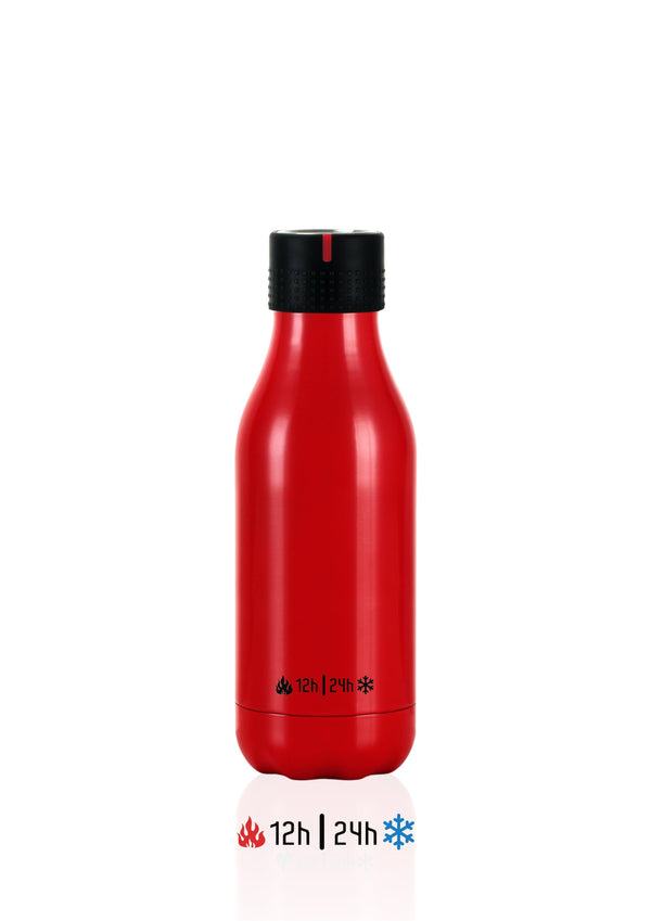 Bouteille isotherme 280ml Time UP - Rouge brillant - Shoji