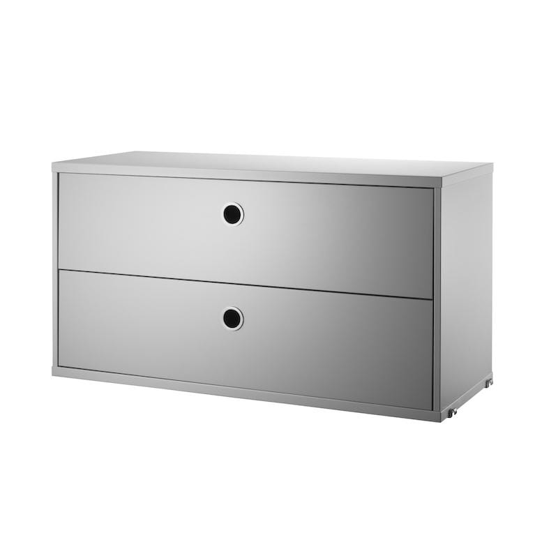 Commode A 2 Tiroirs Grise 78X30X42Ht