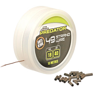 Fox Rage Predator 49 Strand Steel Wire Plus Crimps, Predator End Tackle, Fox Rage, Bankside Tackle