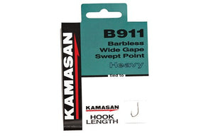 Kamasan B911 Barbless Spade End Hooks To Nylon Heavy, Coarse Hooks, Kamasan, Bankside Tackle