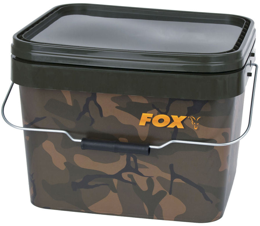 Fox Camo Square Bucket 10ltr, Buckets, Fox, Bankside Tackle
