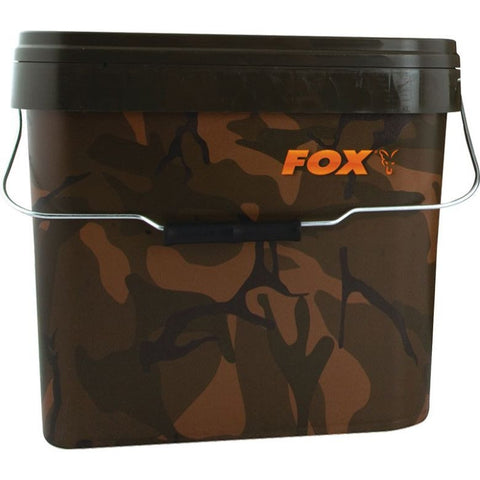 Fox Camo Square Bucket 17ltr, Buckets, Fox, Bankside Tackle