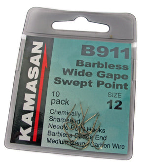 Kamasan B911 Wide Gape Barbless Spade End, Coarse Hooks, Kamasan, Bankside Tackle