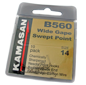 Kamasan B560 Wide Gape Swept Point Barbed Hooks, Coarse Hooks, Kamasan, Bankside Tackle