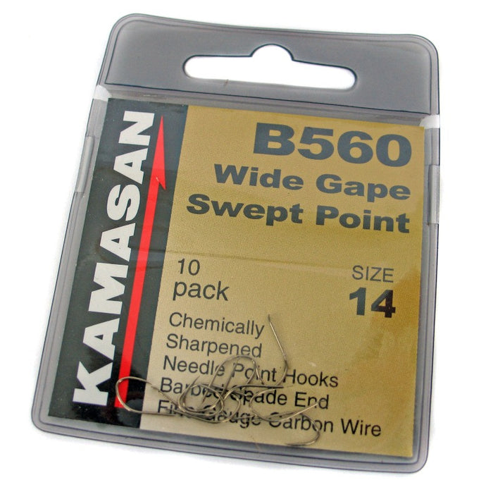 Kamasan B560 Wide Gape Swept Point Barbed Hooks
