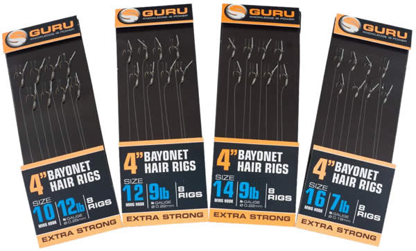 "Guru 4"" Bayonet Rigs, Coarse Hooks, Guru, Bankside Tackle"