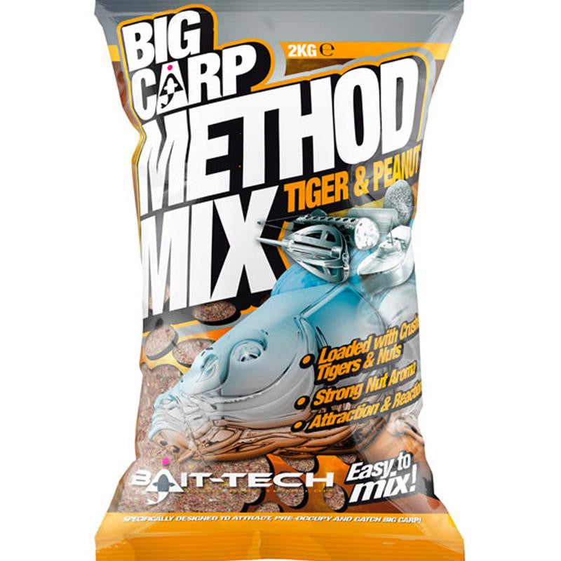 Bait Tech Big Carp Tiger and Peanut Method Mix, Groundbaits, Bait-Tech, Bankside Tackle