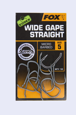 Fox Edges Wide Gape Straight Point Hooks, Carp Hooks, Fox, Bankside Tackle