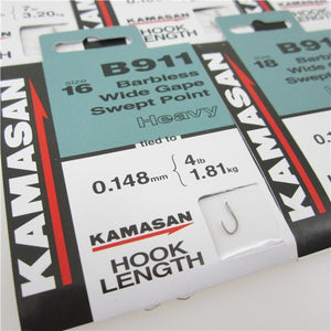 Kamasan B911 Barbless Spade End Hooks To Nylon Heavy