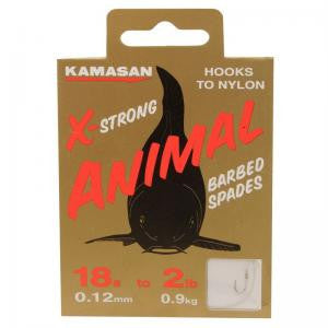 Kamasan Animal X-Strong Spade End Hooks To Nylon, Coarse Hooks, Kamasan, Bankside Tackle