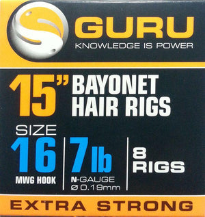 "Guru 15"" Feeder Hair Rigs Bayonets, Coarse Hooks, Guru, Bankside Tackle"