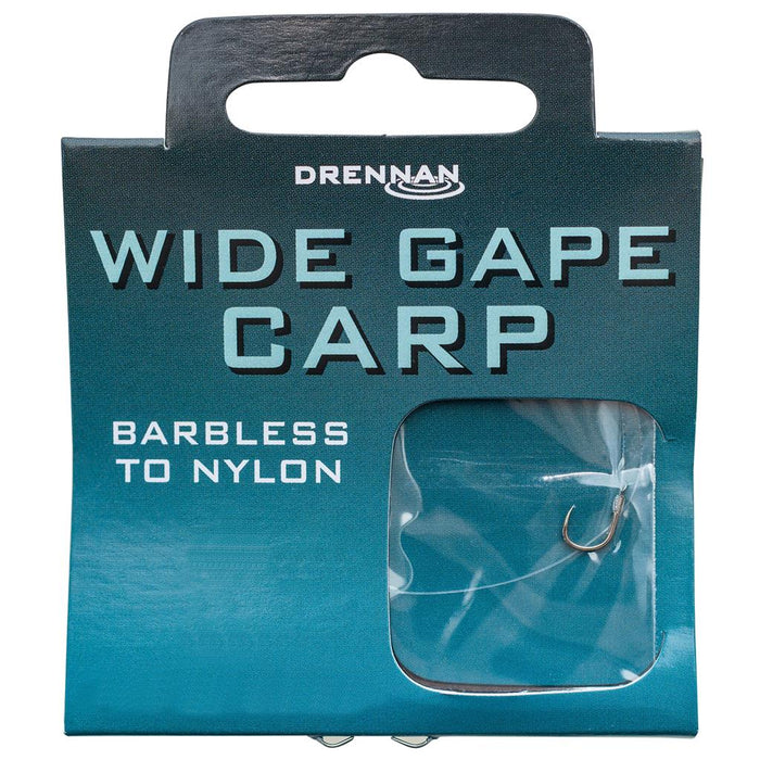 Drennan Wide Gape Carp Barbless Hooks To Nylon