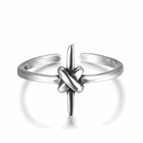 Adjustable Size Silver Cross Ring
