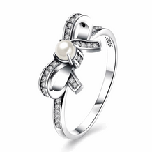 Pearl & CZ Bowknot Silver Ring-VAVOO