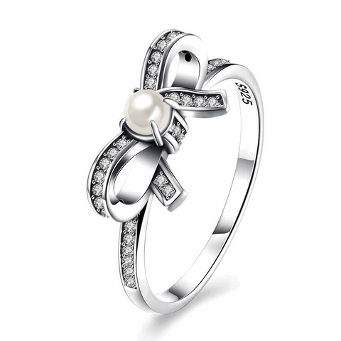 Pearl & CZ Bowknot Silver Ring
