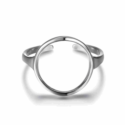 Adjustable Size Open Circle Silver Ring