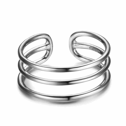 Adjustable Size Triple Line Silver Ring
