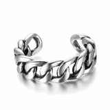 Adjustable Size Woven Silver Ring