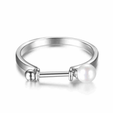 Adjustable Size Pearl Bar Silver Ring