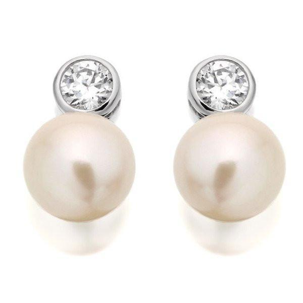 CZ And White Pearl Silver Stud Earrings-VAVOO
