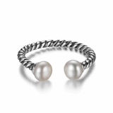 Adjustable Size Cable Band Pearl Silver Ring