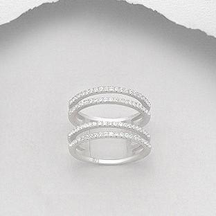 CZ Pave Double Lines Silver Ring-VAVOO