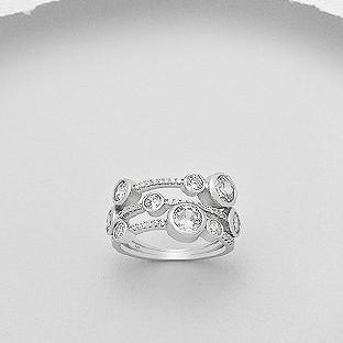 CZ Triple Layer Stacked Silver Ring-VAVOO