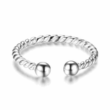 Adjustable Size Cable Band Silver Ring