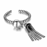 Adjustable Size Tassel Silver Ring