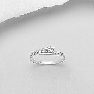 CZ Pave Nail Silver Ring-VAVOO