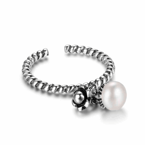 Adjustable Size Flower And Pearl Charm Silver Ring