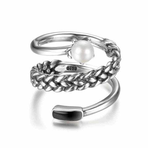 Adjustable Size Wrap Chain Silver Ring