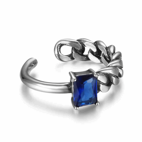 Adjustable Size Half Chain Blue CZ Silver Ring