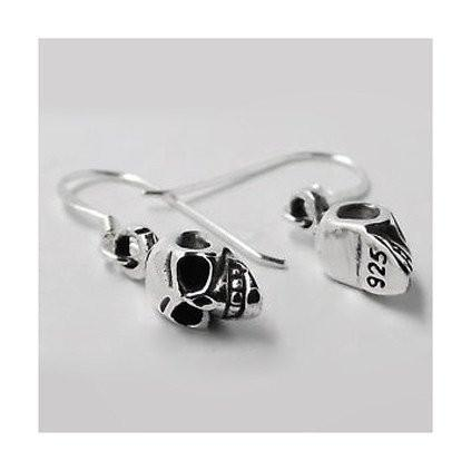 Skull Drop Silver Earrings-VAVOO
