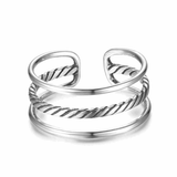 Adjustable Size Triple Line & Cable Band Silver Ring