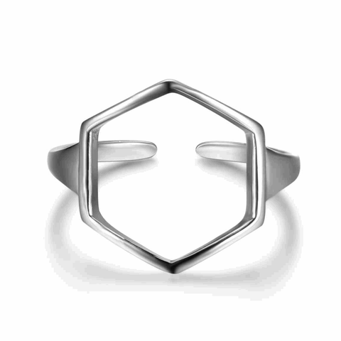 Adjustable Size Open Hexagon Silver Ring