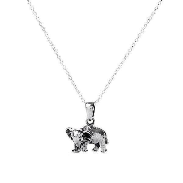Small Elephant Antiqued Silver Necklace-VAVOO