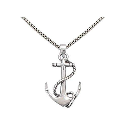 Anchor Pendant With Twisted Rope Silver Necklace-VAVOO