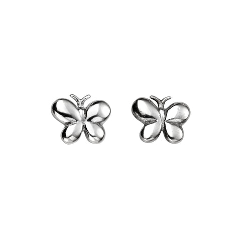 Butterfly Silver Stud Earrings-VAVOO