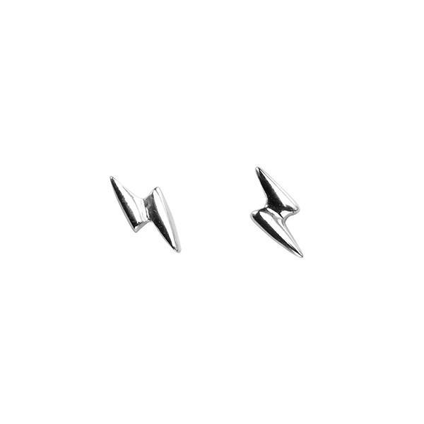Lightning Silver Stud Earrings-VAVOO