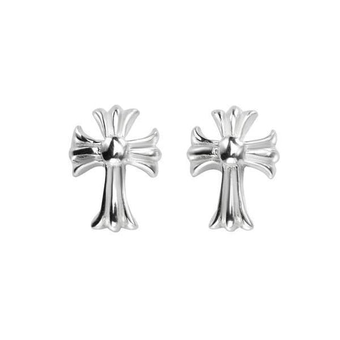 Antique Cross Silver Stud Earrings-VAVOO