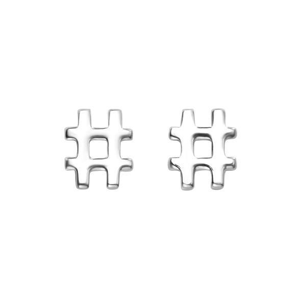 Hashtag Silver Stud Earrings-VAVOO