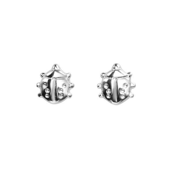 Ladybird Silver Stud Earrings-VAVOO